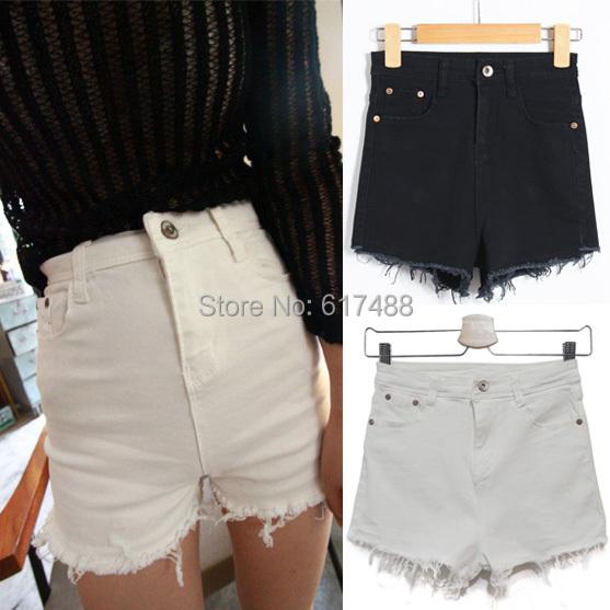 2015 Summer Womens Black White Tassel Ripped High Waist Shorts Cotton Stretch Denim Short Jeans Female Women - KF Store store