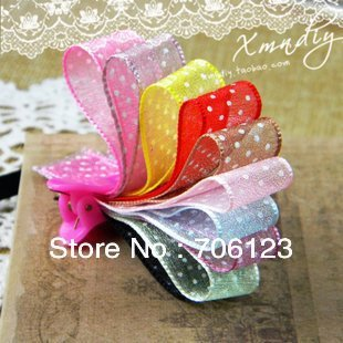 DIY Garment Accessories materials Double face translucent Dots ribbon 15mm Korea Grosgrain 60meters
