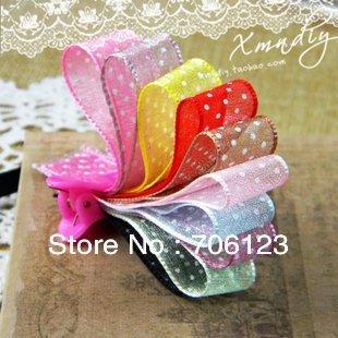 DIY Garment Accessories materials Double face translucent Dots ribbon 15mm Korea Grosgrain 60meters