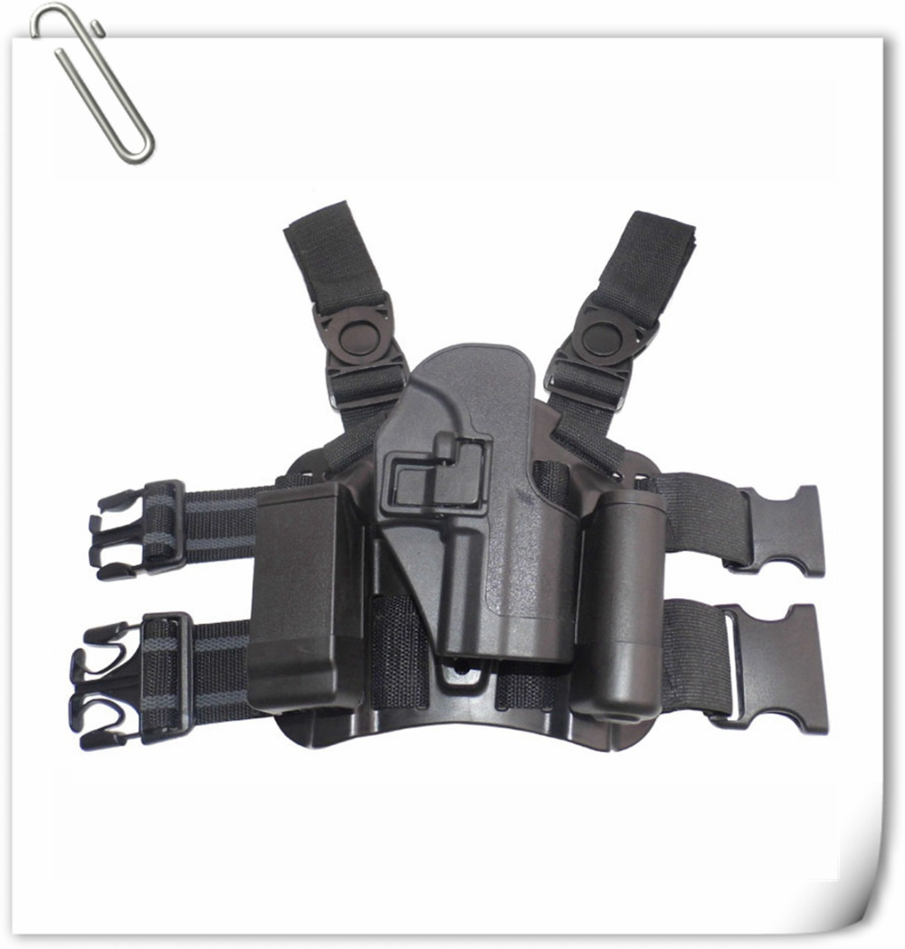 Hunting RH Drop Leg Holster Tactical Holster with Magazine Light Pouch Black for H&K USP Compact(China (Mainland))
