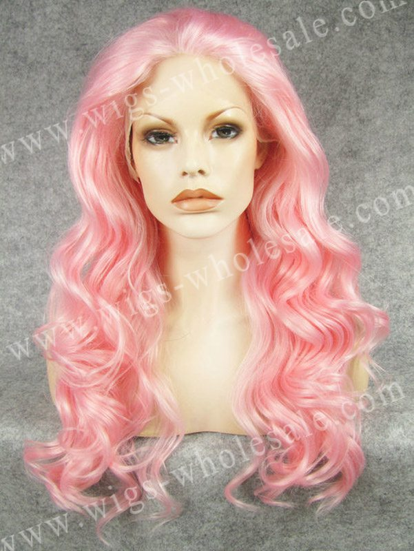 CWN7C3100B Synthetic middle part lace front wigs pink long wavy heat resistant wig(China (Mainland))