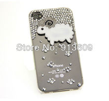 1PC Bulk 3D Sheep Rhinestone Crystal Diamond Genuine Luxury Novelty Case For iPhone 4s phone 4 4G Bling Cover(China (Mainland))