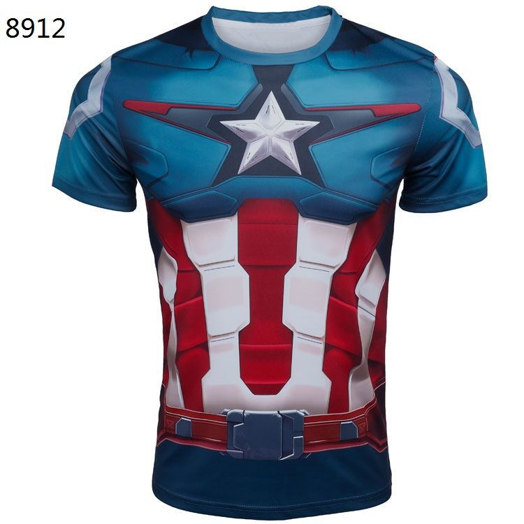 New 2015 superhero captain America 2 zip lycra tights fitness sports T-shirt t-shirts batman superman punisher spiderman T-shirt(China (Mainland))