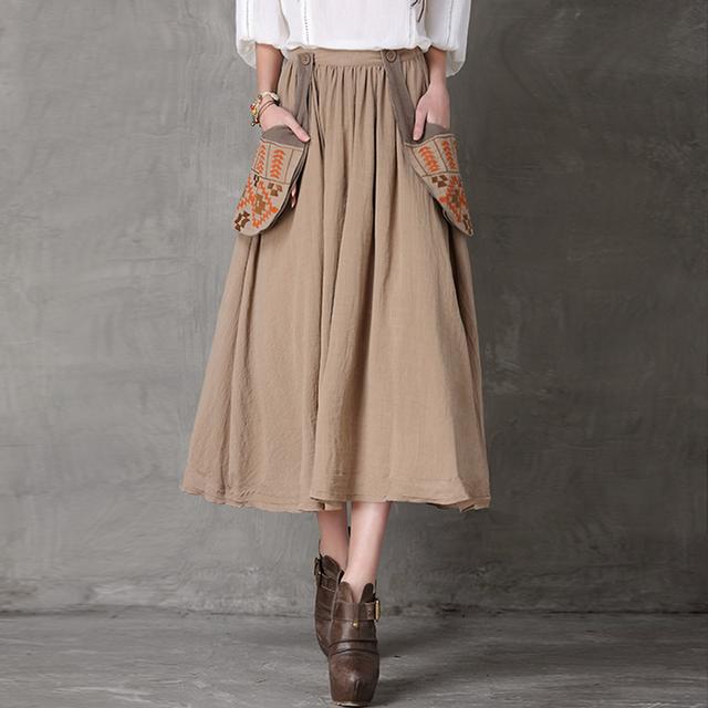 Женщины макси юбка 2016 весной урожай хлопка белье цветочной вышивкой большой карман ...