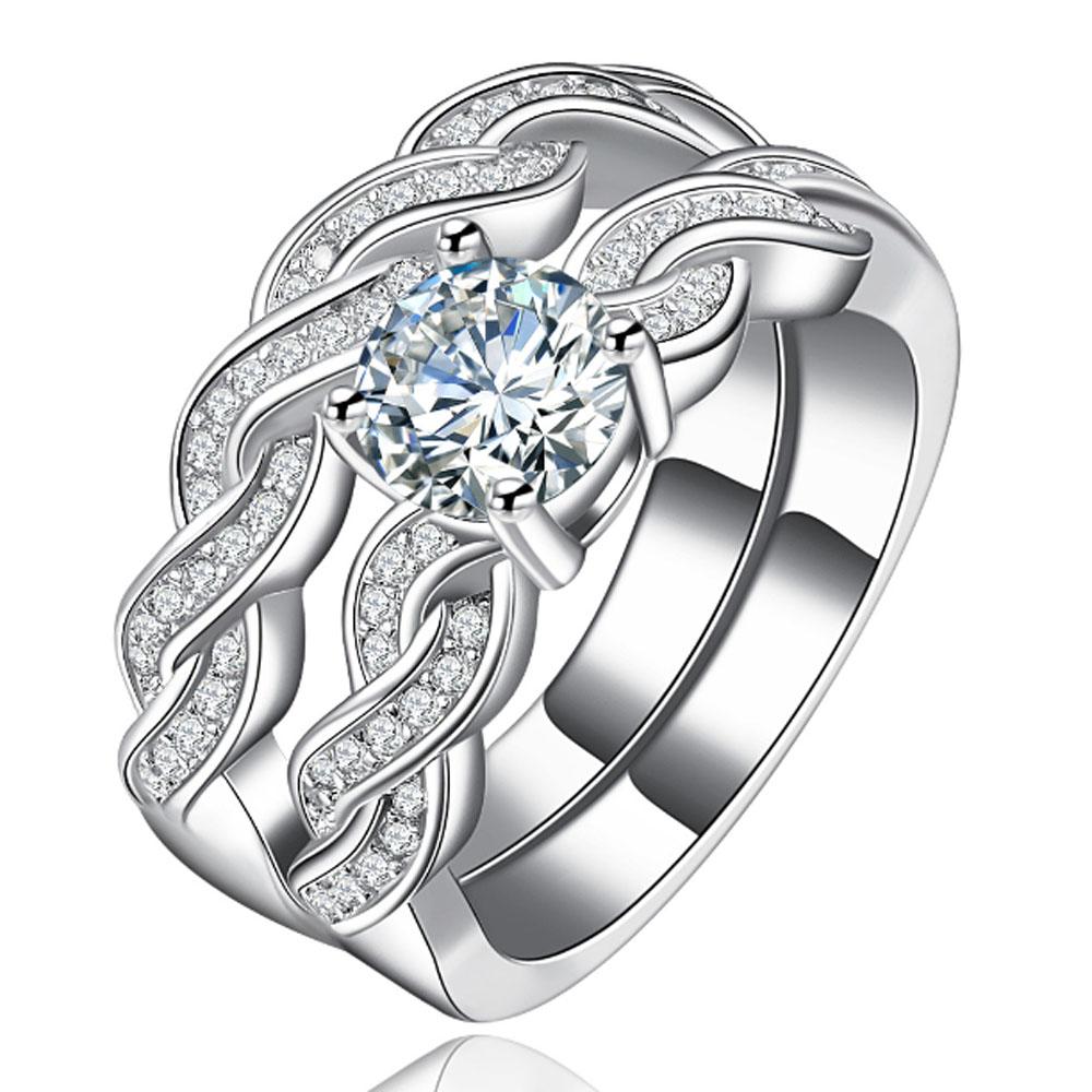 YaYI Fashion Women's Jewelry Ring CZ Diamond White Platinum Plated Engagement Rings wedding Rings Party Rings gift(China (Mainland))
