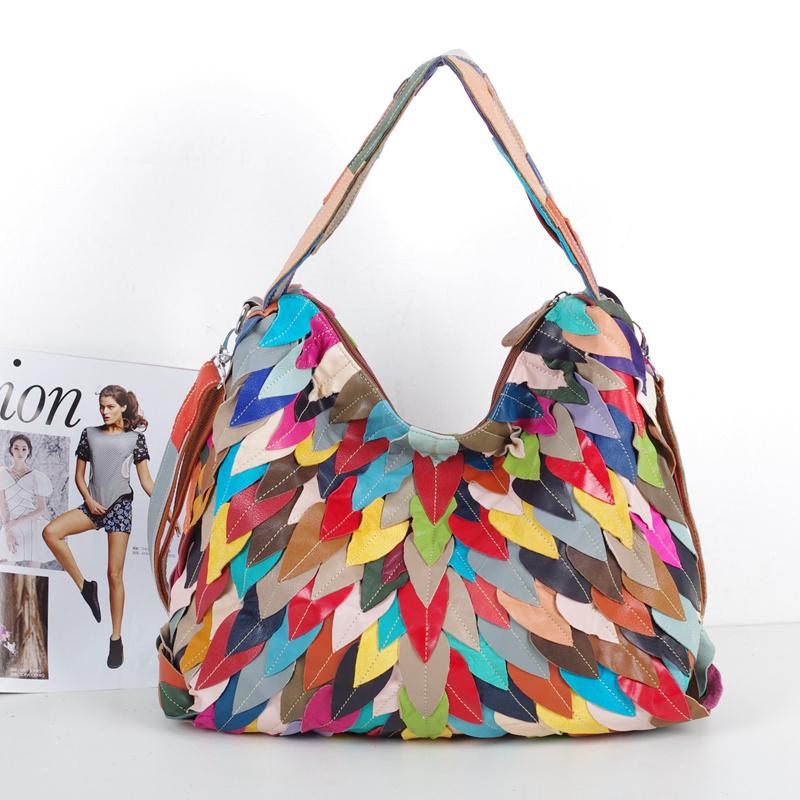 2016 genuine leather sheepskin soft multicolour leaves colorant match handmade women's bag shoulder bag(China (Mainland))