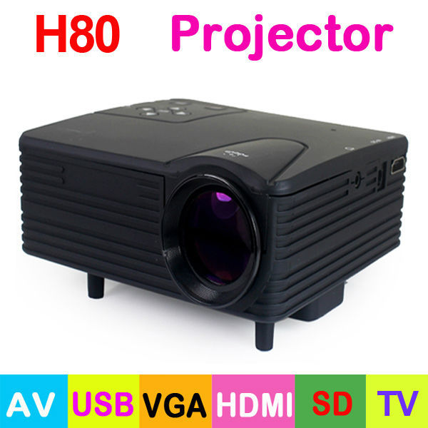 Free Shipping! H80 80 Lumens LED Portable Mini Projector 640 x 480 Pixels Support 1080P with AV/USB/VGA/HDMI/SD Card TV Slot(China (Mainland))