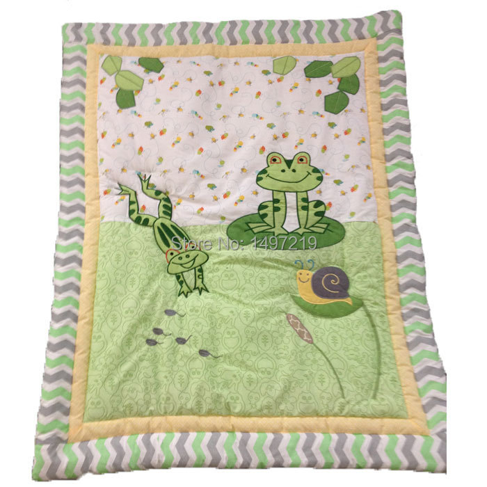 Frog Pattern Baby Quilt Green Color Applique Design Free