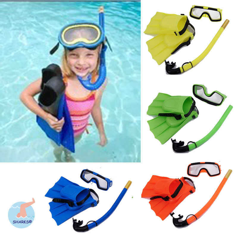 4 Colour Kid Swimming Diving 3 sets Child Scuba Diving Equipment Snorkeling Diving Mask Goggle/Flippers/Breathing tube(China (Mainland))