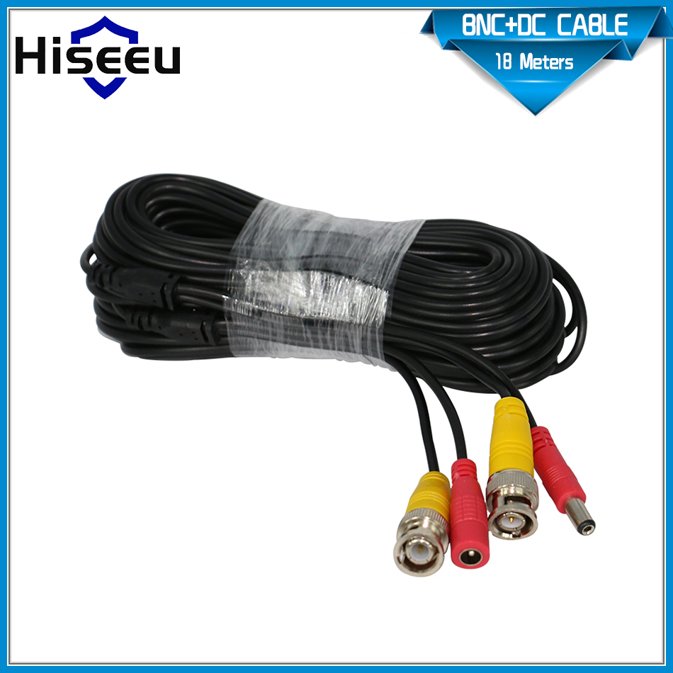 Hiseeu 65ft 20m 18m BNC+DC cctv cable for analog AHD camera DVR bnc video power cable cctv 2in1 cable(China (Mainland))