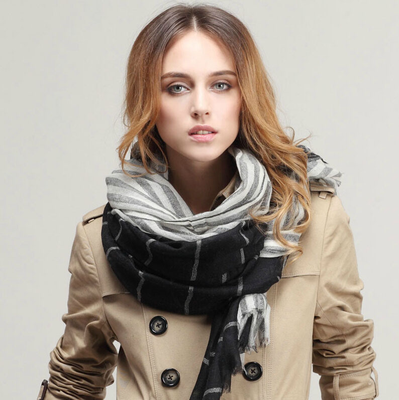 Women Luxurious Cashmere Double Layers Long Scarf 100% Pure Cashmere Black and White Stripe Scarves Pashmina Shawls(China (Mainland))