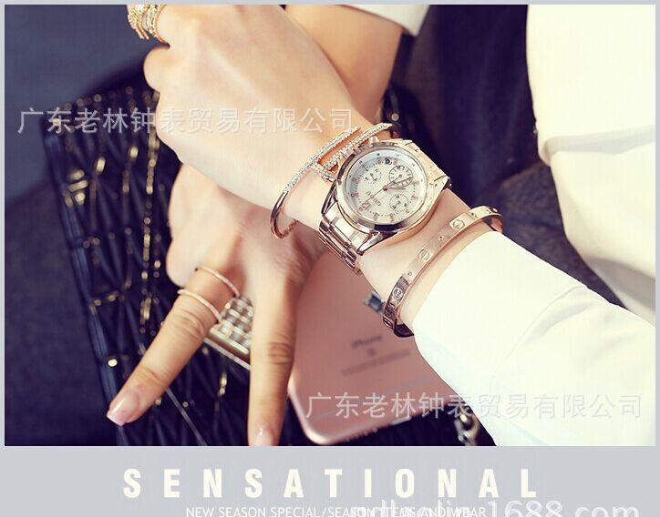 Древняя Европейская мода шесть pin маленький стальной циферблат часов женские Корейские Стразы ретро Бизнес Случайный часы подарок