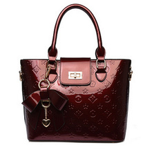 Women Genuine Leather Handbags Fashion Patent Embossing Shoulder Bag Ladies Luxury Leather Message Bags Black Red Bolsa Feminina