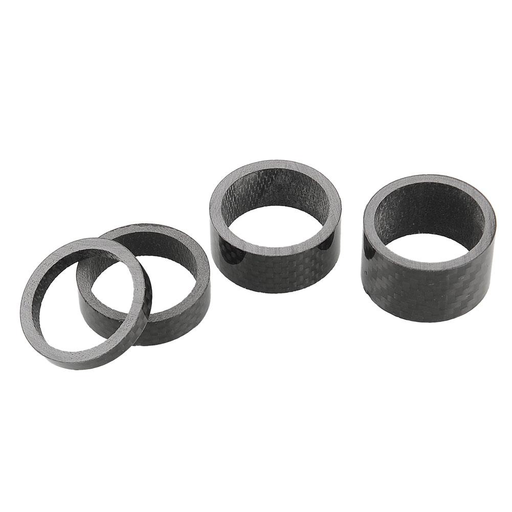"1set Carbon Fiber Headset Fork 5,10,15,20mm Washer Spacer kit 1 1/8"" Stem Road Bike Black Durable Useful High Quality(China (Mainland))"
