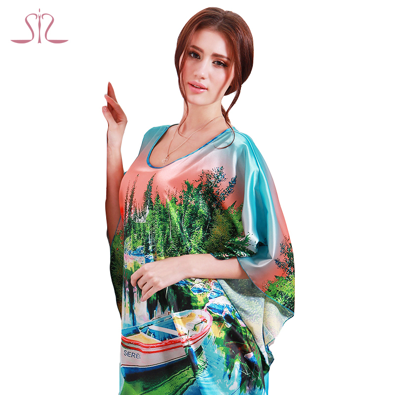 Women Nightgowns Special Offer Silk Bath Robe 2015 Sleep Lounge Ladies Nightwear Plus Size Dressing Gowns For Sleep Top 10104(China (Mainland))