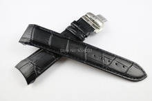 22mm (Buckle 20mm) T035407A T035410 High Quality Silver Butterfly Buckle + Black Genuine Leather curved end Watchband belts man