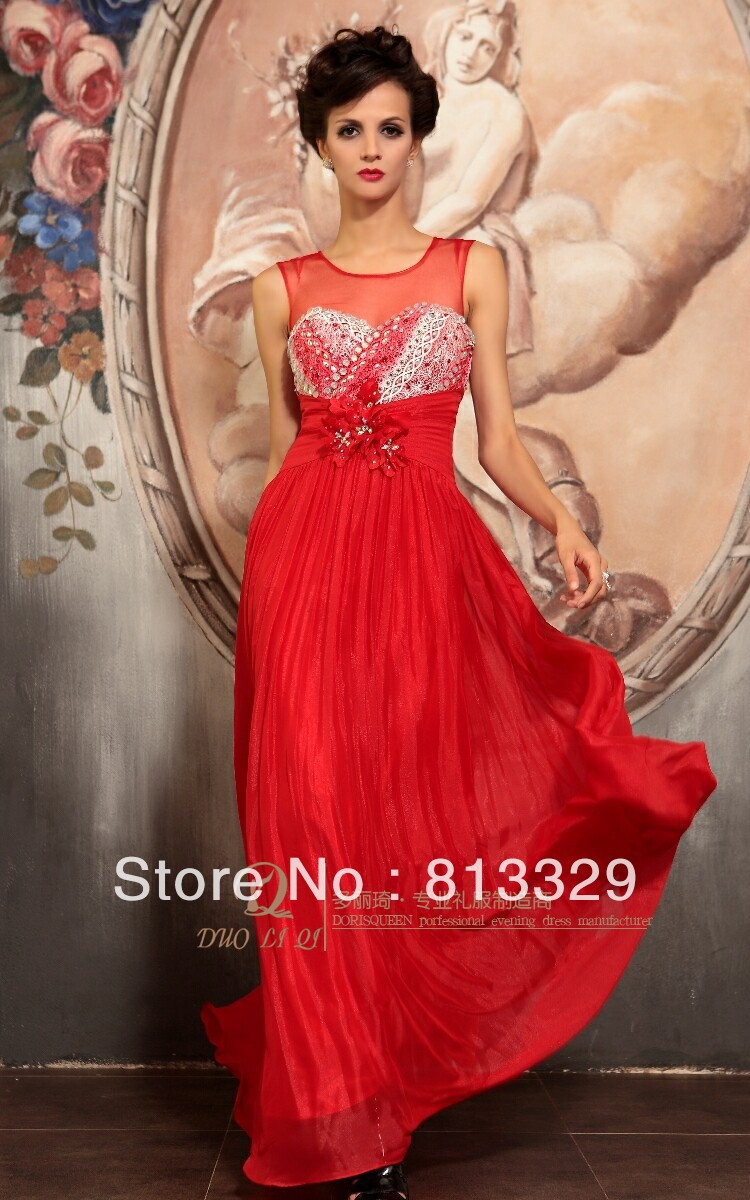 In stocking 2013 promotion Red capsleeve Beaded Long Taffeta Christmas upscale evening dress(China (Mainland))