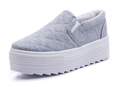4 8cm Thick Soles Muffin Canvas Shoes Women Platform Shoes Fashion Casual Loafers white Flat Shoes