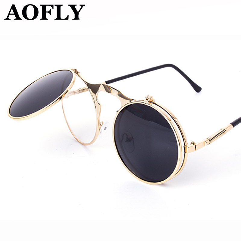 VINTAGE STEAMPUNK Sunglasses round Designer steam punk Metal OCULOS de sol women COATING SUNGLASSES Men Retro