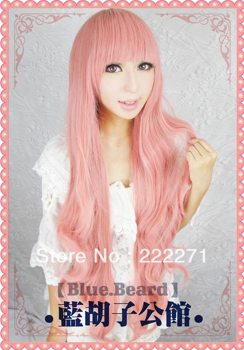 Anime Ro Kyu Bu Hakamada Hinata Long Wavy Smoke Pink Full Lace Cosplay Wig Costume Heat Resistant + Cap