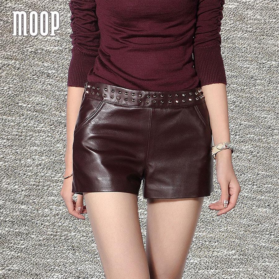 Red black genuine leather shorts women crop tops fashion hot shorts stud decor 100%lambskin short pantalones cortos mujer LT630(China (Mainland))