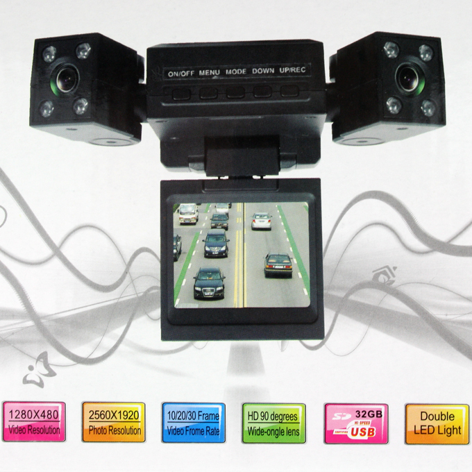 High Quality Dual Rotatable Lens Vehicle Camera Car Black Box DVR Dashboard Free Shipping UPS DHL HKPAM CPAM(China (Mainland))