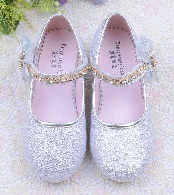 Kids Children Girls Lace Flower Princess Shoes Shiny Wedding Party Dance Shoes Girls Leather Shoes In With Girls Sandals
