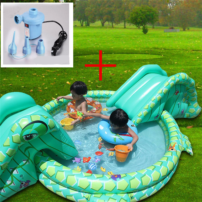 2 Pcs Swimming Pool+Pump Multi-function Large Size Outdoor Inflatable Swimming Pool With Slide Piscine Gonflable Plastic Slide(China (Mainland))