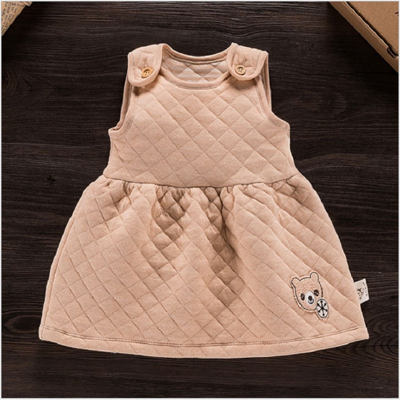 High Quality Newborn Baby Girl 100%Organic Cotton Dress 2016 New Spring 1Year Birthday Baby Girl kid Cute O-neck Dresses Clothes(China (Mainland))
