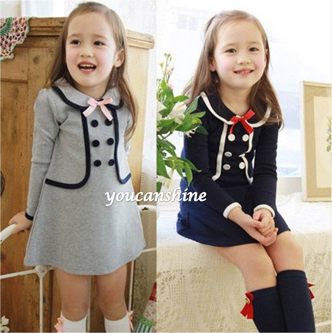 Product Description Girl's pieced dress with ribbed knit vest, woven sleeves and collar, and.