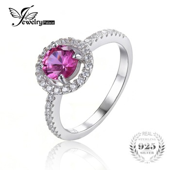 JewelryPalace Round 1.2ct Created Pink Sapphire 925 Sterling Silver Ring Engagement Party Ring Fine Jewelry for Women
