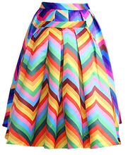2016 New summer Waves Skirt Women's Stripe skirts colored wavy Ball Gown skirt long skirt for woman(China (Mainland))