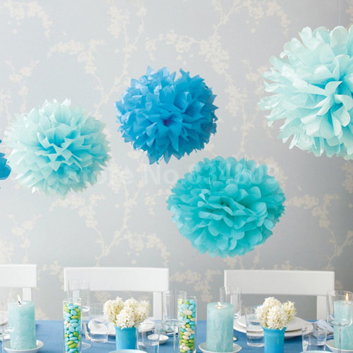 6inch (15cm) 10pcs/lot Tissue Paper Pom Poms Flower Ball Wedding Home Party decoration Paper Ball supplies baby shower favors(China (Mainland))