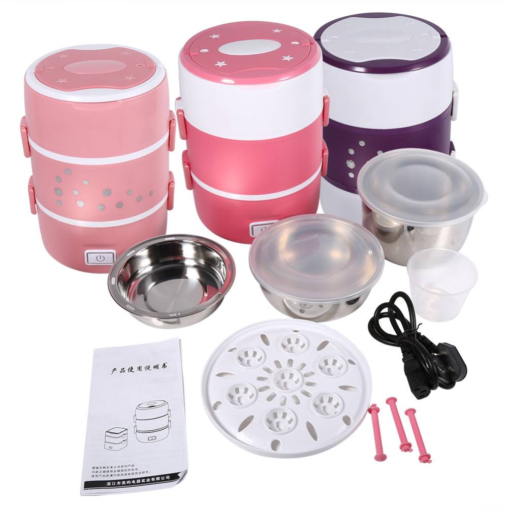 3 Layers Stainless Steel Food Containers Electric Heated Lunch Box Set Multifunctional Food Warmer 220V High Quality(China (Mainland))