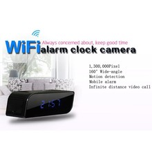 Wifi Alarm Clock Camera Clock HD720P P2P Home Mini Camera  with Night Vision Motion Detection Mobile Alarm by WIFI Mobile phone