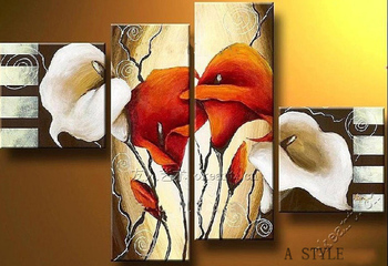 Calla lily love modern living room is concise fashion decorative painting  Flowers Hotel restaurant Lily in the wind 4pcs/set