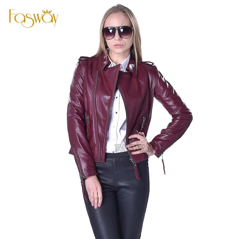 Factory Women's Leather Jacket For Women Genuine Sheepskin Leather Coat 5 Colors Slim Short Autumn Spring Female Jaqueta ZH073(China (Mainland))