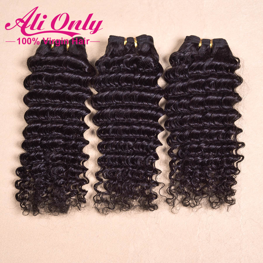 Cheap Queen Hair Free Shipping Deep Wave Curly Hair Weave Brazilian Human Hair Extensions Weft Mixed Length 3PCS lot Grade 4A