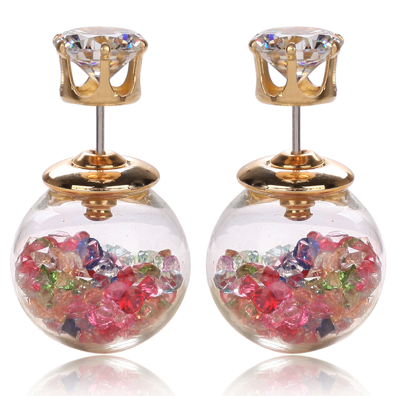 Stud Earrings Limited Time-limited Trendy Women Glass Zinc Alloy Round Brincos 2016 Most Popular Jewelry Style Earrings Fashion(China (Mainland))