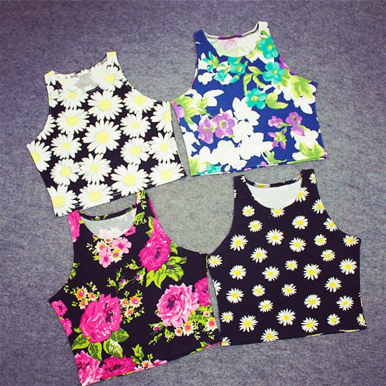 2015 Women crop top daisies American original Nation Gradient floral pop Thailand summer style 3D Stripe