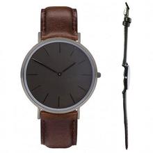 all black color watch genuine leather relojes straps Japanese quartz movement black hours