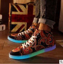 HOT Led Luminous Shoes 2016 Casual Led Shoes For Women & Men Fashion Adult LED Light Up USB re-Charging Chaussure Huabu
