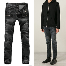 NWT BP Mens Fashion Runway Stretch Denim Biker Black Jeans Fashion Icon Kanye West Like Skinny Jeans Homme Size28-38 (#923)