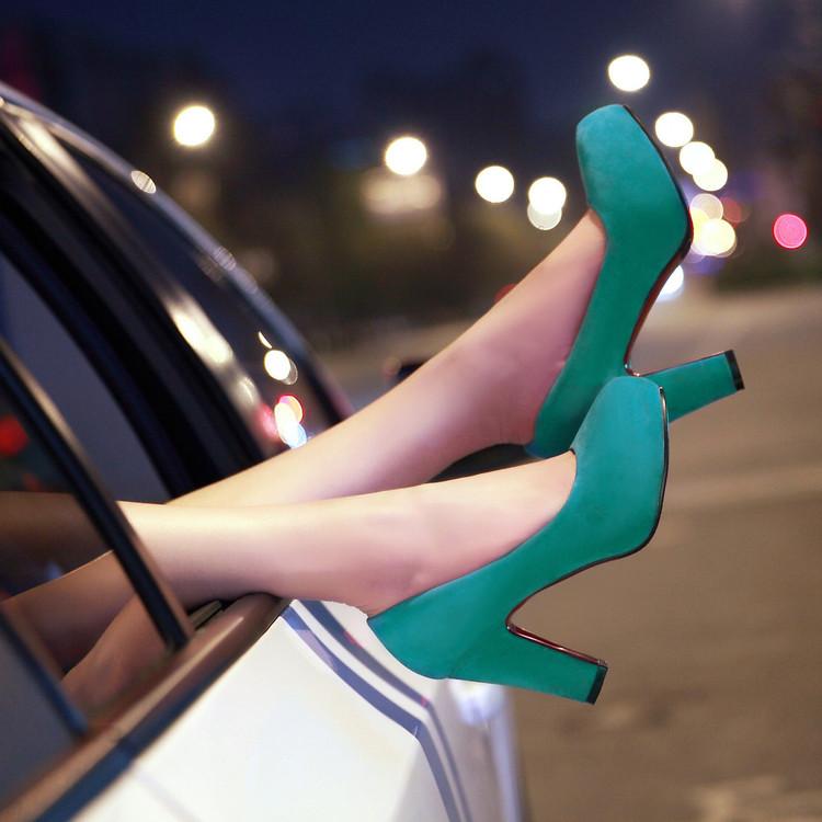 Wedding Shoes 2016 Women Fashion Flock Chunky Heels Platform Wedding High Heel Pumps G2-A35-1<br><br>Aliexpress