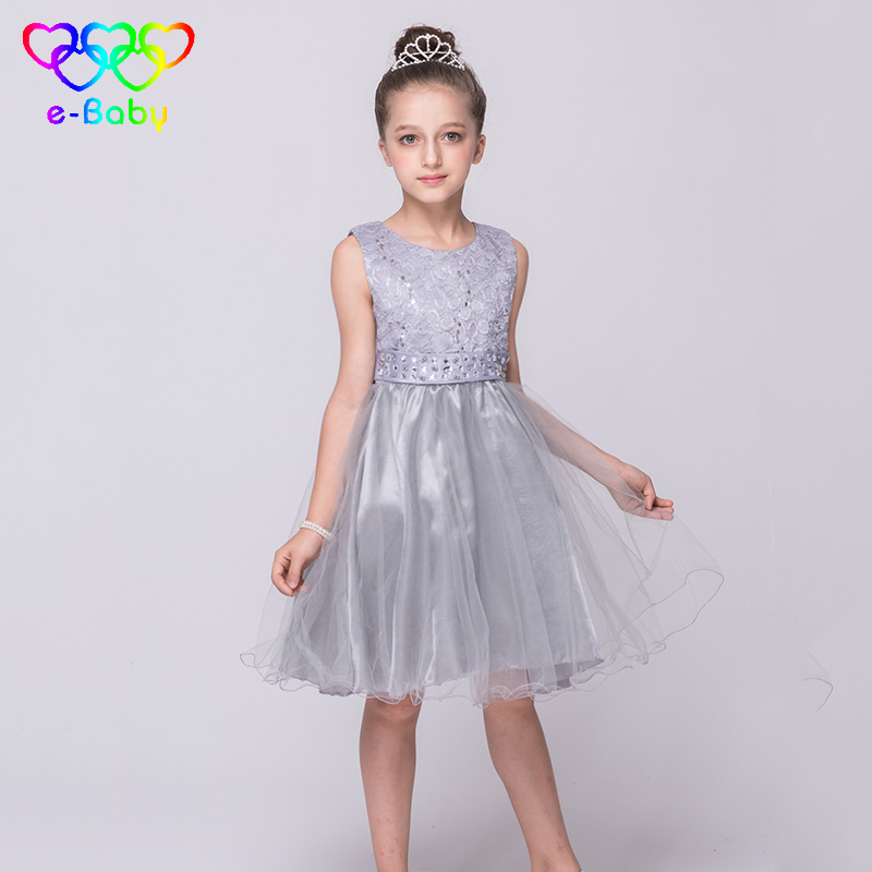 Hot sale girl princess dress cute style evening dresses for 2-9 years old girl diamond belt ball gown solid O-neck dress EB92505(China (Mainland))