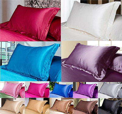 48cmx73cm 2X Silk Pillow Case PURE Color Satin Pillow Cover Multiple Colors Bedroom Bed Supplier Home Textile(China (Mainland))