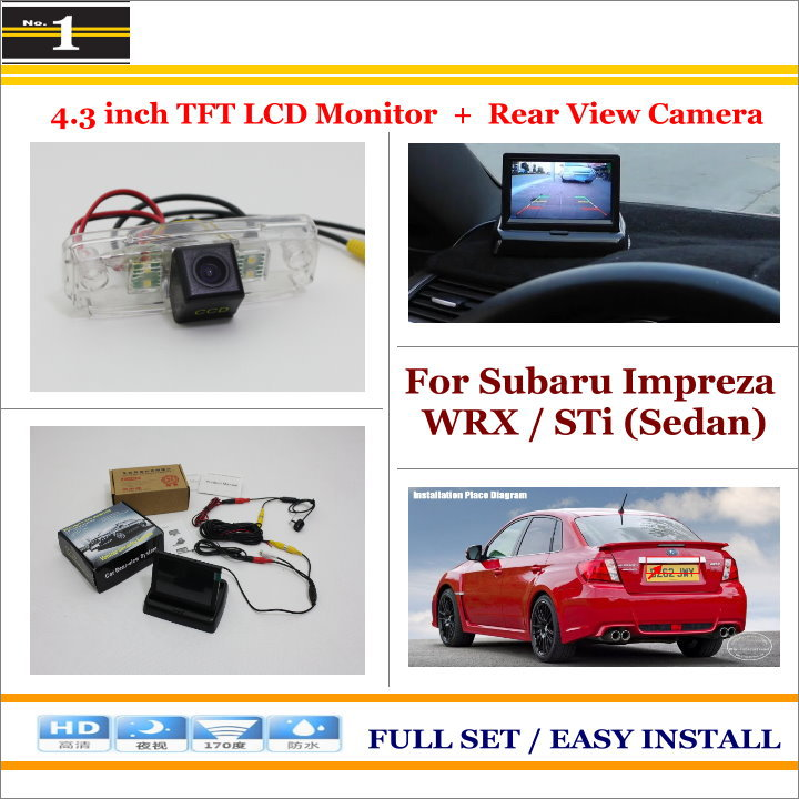 """Auto Rear View Camera Back Up + 4.3"""" LCD Monitor = 2 in 1 Parking Assistance System - For Subaru Impreza WRX / STi ("""