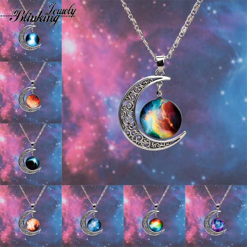 2014 New Fashion Galaxy Necklace Lovely Galaxy Cabochon Alloy Hollow Moon Pendant Silver Chain Necklace Best Gift Free Shipping(China (Mainland))