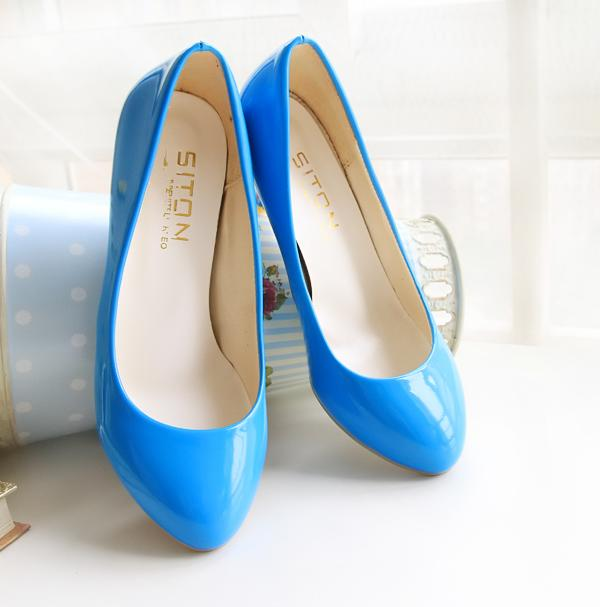 Candy Color Women Pumps 2015 Medium Heel Solid Ladies High Heels Big Yards 40-47 Princess Party Dress Shoes zapatos mujer