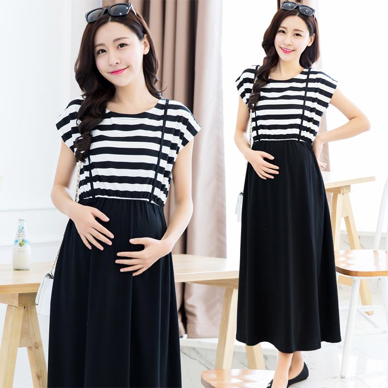 Hot Sale 2015 maternity clothing summer stripe full dress nursing maternity one-piece dress easy to feed baby dress(China (Mainland))